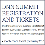 DNN Summit 2019 Registration Is Open